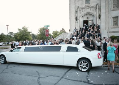 White Chrysler 300 Limo Wedding